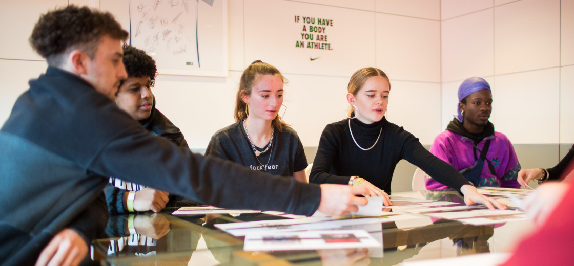A group of students taking part in a project in association with Nike