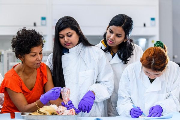Tina Chowdhury with students